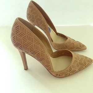 Jessica Simpson perforated light brown heels